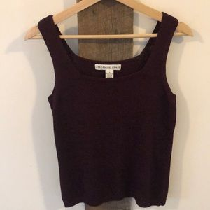 Burgundy Square Neck Knit Tank